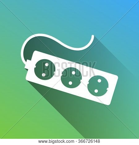 Electric Extension Plug Sign. White Icon With Gray Dropped Limitless Shadow On Green To Blue Backgro