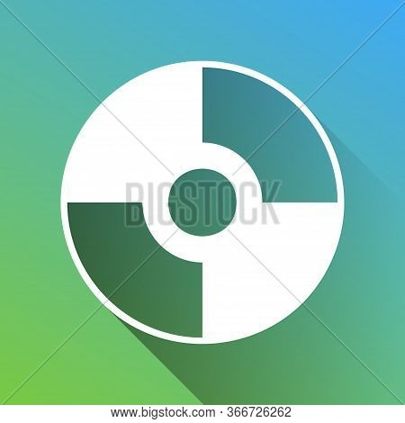 Cd Or Dvd Sign. White Icon With Gray Dropped Limitless Shadow On Green To Blue Background. Illustrat