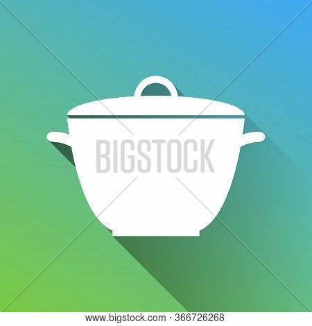 Saucepan Simple Sign. White Icon With Gray Dropped Limitless Shadow On Green To Blue Background. Ill