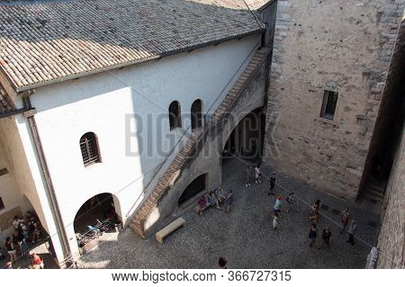 Italy, Lombardy - August 05 2018: The View From Tower On Inner Yard, Scaliger Castle On August 05 20