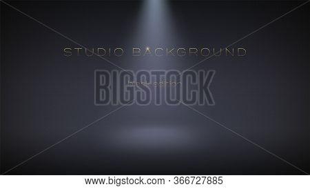 Black Empty Studio Illuminate Spotlight. Soft Gradient From The Rays Of The Searchlight. Dark Room F