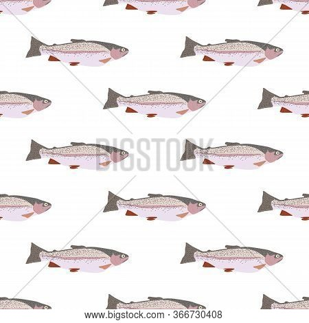 Trout Fish Nature Healthy Food Vector Seamless Pattern
