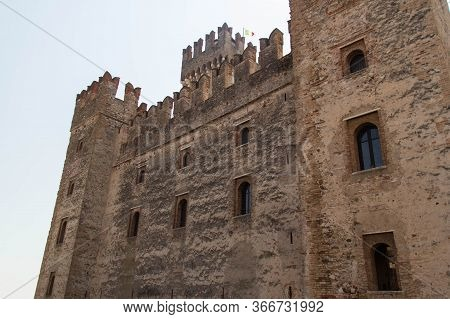 Italy, Lombardy - August 05 2018: The View Of Anicent Walls Of Scaliger Castle On August 05 2018 In