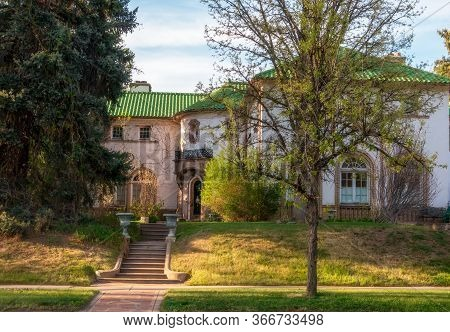 Denver, Colorado - May 10, 2020: Old Home With Beautiful Landscaping In The 6th Street Historic Area