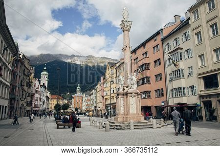 Innsbruck, Austria - 20th September 2015: Maria-theresien-strasse (maria Theresa Street) With The An