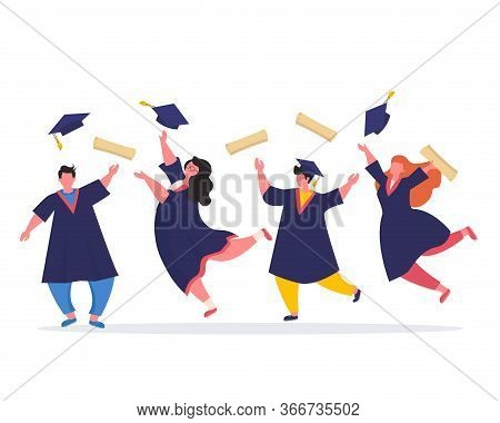 A Group Of University Graduates In Black Coats Jumping With Joy. Diploms And Graduating Caps Flying