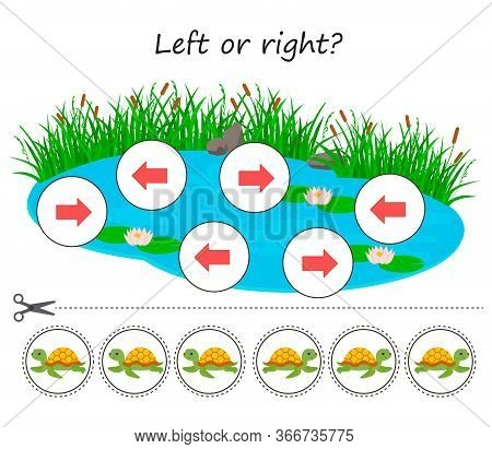 Educational Maths Game For Kids. Left Or Right Pond With Turtles. Developing Kids Attentiveness And