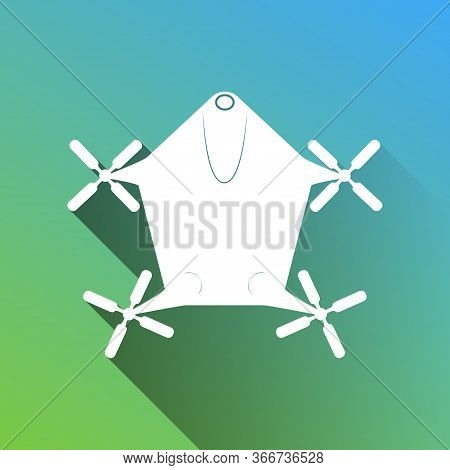 Drone Quadrocopter Sign. White Icon With Gray Dropped Limitless Shadow On Green To Blue Background.