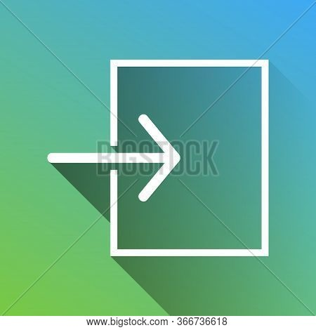 Input Sign. White Icon With Gray Dropped Limitless Shadow On Green To Blue Background. Illustration.