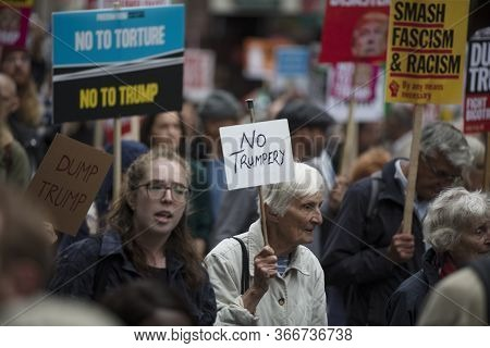 Crowds Of Protesters In London Demonstrate Against President Trumps Visit