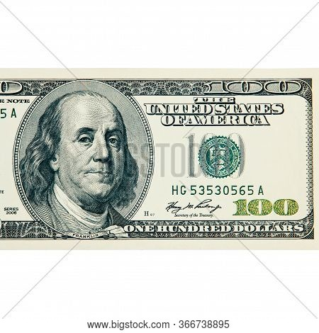 A Hundred American Dollars Bill Close-up On A White Background Isolated, Clipped Path.