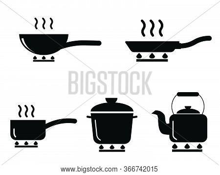 Cooking Pot Pan Kettle Set. Various Icons Depicting Cooking Utensil Pot Pan Kettle Over Stove Fire.