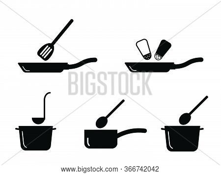 Cooking Kitchen Pot Pan Utensil Set. Depicting Various Cooking Pot And Pans Found In Kitchen. Black