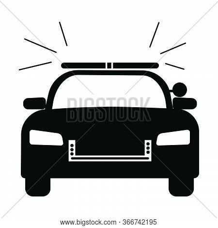 Police Cop Car With Siren Front View. Simple Black And White Illustration Depicting Police Emergency