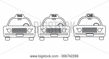 Taxi Cab Vintage Front View Outline Set. Three Taxi Cab Car Automobile Black And White Illustration.