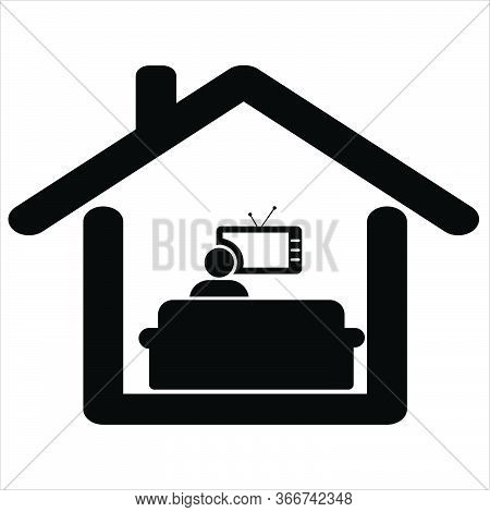 Watching Tv At Home. Pictogram Depicting Man Sitting On Sofa Couch Watching Tv Movie Show From Home.