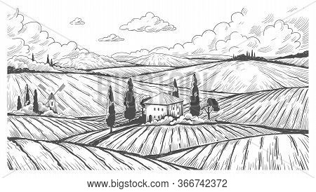 Countryside Engraving. Vintage Natural Landscape Sketch With Rural Hills, Fields And Farm House. Vec