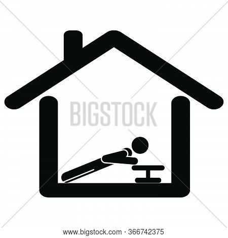 Exercise From At Home. Pictogram Depicting Man Working Out Doing Push Up From Home. Lock Down Stay A