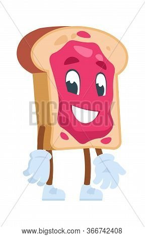 Toast Cartoon Character. Vector Illustrations Cute Cartoon Food. Bread Toast With Jam