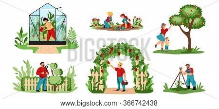 Planting. Cartoon Agricultural Workers Cutting Trees And Bushes, Planting Crops And Flowers. Vector