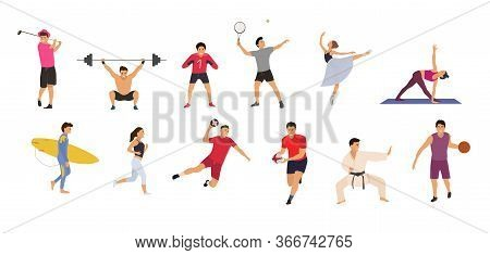 Collection Sport People On A White Background. Concept, Tennis, Yoga, Karate, Basketball, Rugby, Han