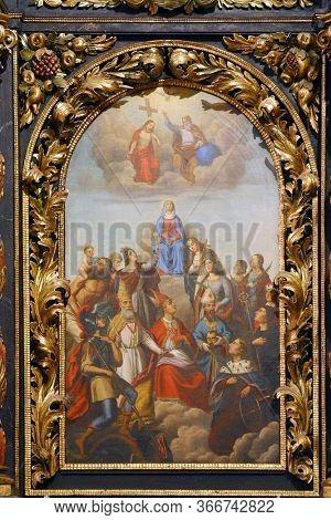 ZAGREB, CROATIA - NOVEMBER 03, 2012: Fourteen Holy Helpers, altarpiece in the church of St. Barbara in Vrapce, Zagreb, Croatia