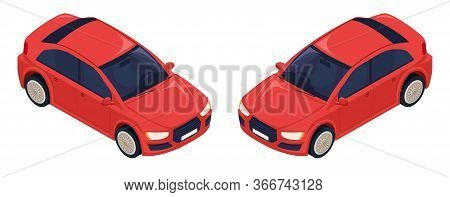 Modern Red Car. For The Middle Class. The Average European Car. Made In Vector Illustration In 3d Is