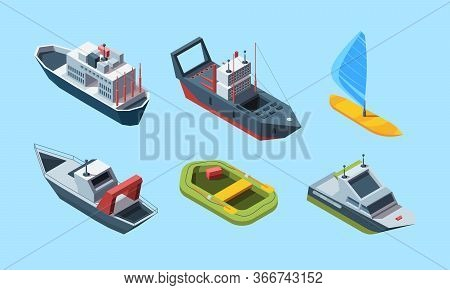 Sea Transport Set. Isometric Cruise Ocean Liner For Travel, Blue-sail Windsurf Boat, Coast Guard And