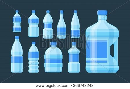 Bottle Plastic Set. Blue Capacity Bottled Liquid Soda Cider Oil Convenient Form Blue Label For Sport