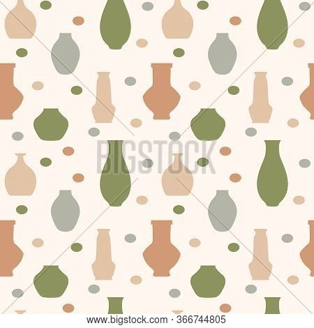 Pottery Flat Vector Seamless Pattern. Handmade Ceramic Vase And Pots . Pottery Hobby