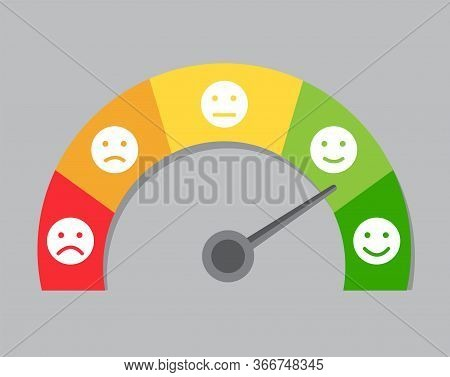 Multicolor Speedometer With Emoticons Measures The Mood And Shows It With An Arrow