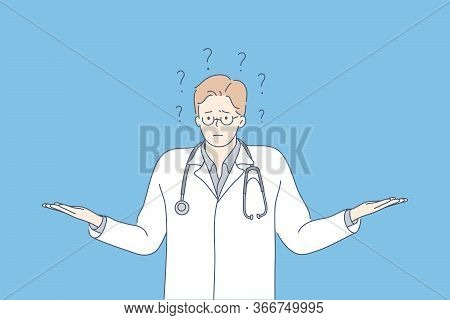 Question, Problem, Medicine, Ignorance Concept. Young Ignorant Pensive Thoughtful Man Doctor Intern