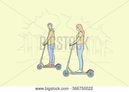 Summer Recreation, Riding Concept. Young Happy Couple In Love Man Woman Boyfriend Girlfriend Cartoon