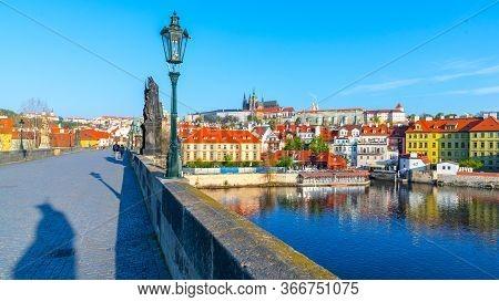 Prague Castle View From Charles Bridge On Sunny Spring Morning, Praha, Czech Republic