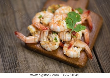 Shrimp Delicious Seasoning Spices On Wooden Cutting Board Background /  Cooked Shrimps Or Prawns , S
