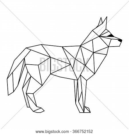 Wolf Polygonal Lines Illustration. Abstract Vector Wolf On The White Background
