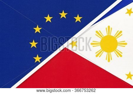 European Union Or Eu And Republic Of The Philippines National Flag From Textile. Symbol Of The Counc