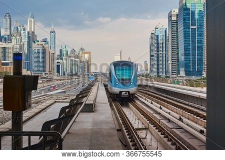 Beautiful View Of The Metro Train To Dubai. Dubai Metro Is The Worlds Longest Fully Automated Metro