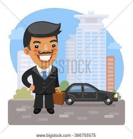Cartoon Smiling Asian Businessman With A Briefcase Stands On The Street Near The Car. Composition Wi