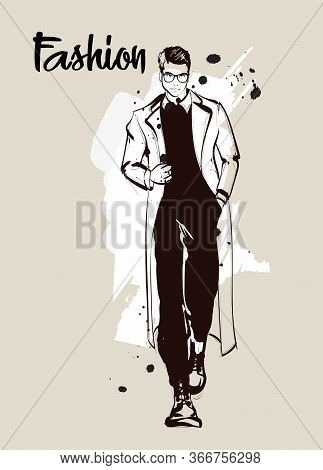 Stylish Handsome Man In Fashion Clothes. Fashion Man. Hand Drawn Male Model. Sketch. Vector Illustra