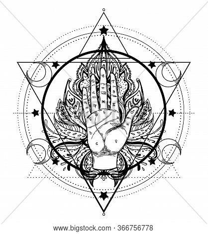 Vintage Hands. Hand Drawn Sketchy Illustration With Mystic And Occult Hand Drawn Symbols. Palmistry