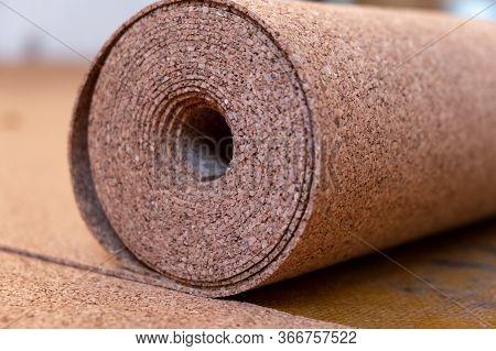 Roll Of Wood Cork. Renovation. Closeup Roll Of Wooden Cork .