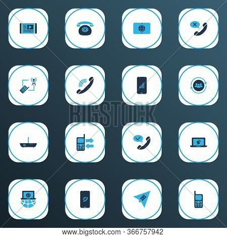 Telecommunication Icons Colored Set With Cancel Call, Mobile Data Exchange, Talking And Other Modem