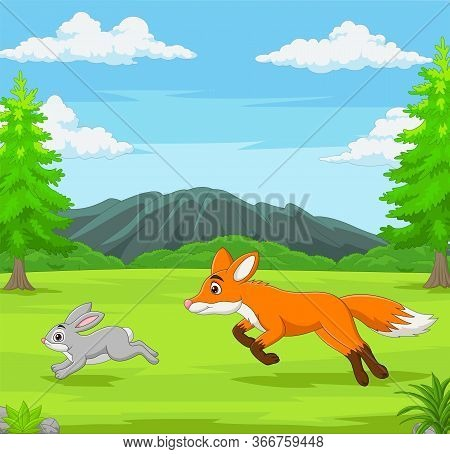 Vector Illustration Of The Fox Is Chasing A Rabbit In An African Savanna