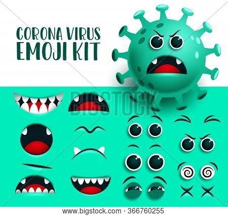 Corona Virus Emoji Kit Vector Set. Covid19 Green Ncov Virus Emoticon And Icon Eyes And Mouth Editabl
