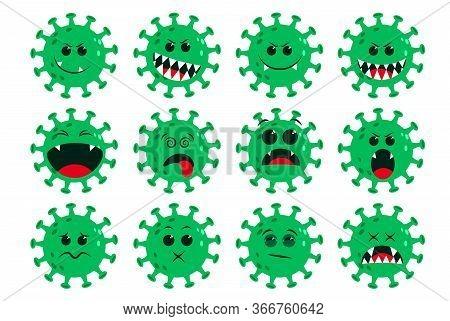 Corona-virus Green Emoticon Vector Set. Ncov Covid19 Corona Virus Flat Cartoon Icon And Emoji With N