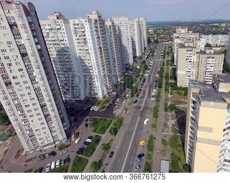 Panoramic view of Kiev at spring (drone image). May 16, 2020 Kiev ,Ukraine