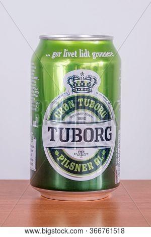 Pruszcz Gdanski, Poland - May 16, 2020: Can Of Tuborg Alcoholic Pilsner Beer.