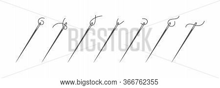 Needle And Thread Silhouette Icon Set Vector Illustration. Tailor Logo With Needle Symbol And Short
