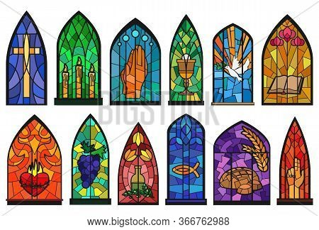 Church Windows Cartoon Set Icon. Isolated Cartoon Set Icon Cathedral Mosaic.vector Illustration Chur